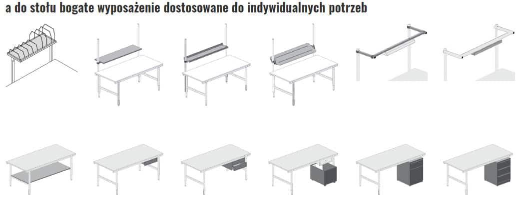 Wyposażenie stołów do pakowania systemu 1600